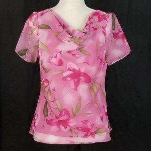 Studio I - Pink Chiffon Floral Print Blouse - 12
